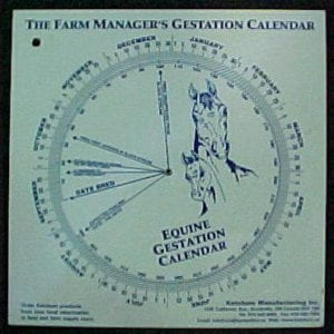 Gestation Calendar Wheel, Horse