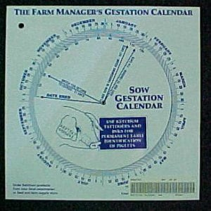 Gestation Calendar Wheel, Swine