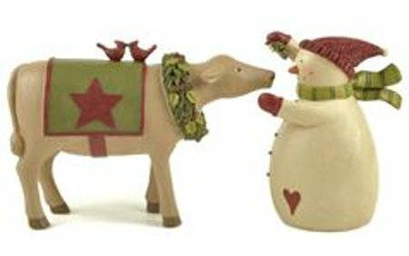 Cow w/ Wreath Kissing Snowman